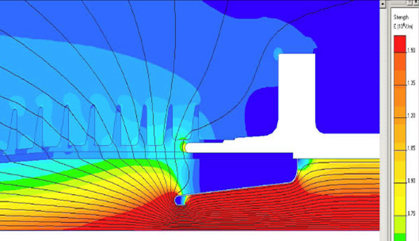 Examples of simulation of electrical field for a correct design of and insulators and its shield